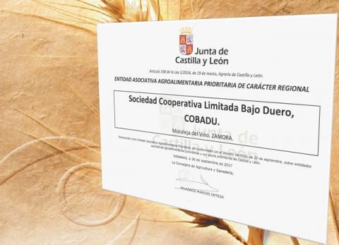 Cobadú recibe el reconocimiento de la Junta como Entidad Asociativa Agroalimentaria Prioritaria